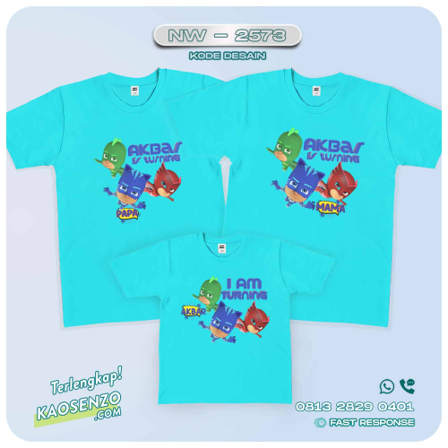 Kaos Couple Keluarga | Kaos Ulang Tahun Anak PJ Masks - NW 2573