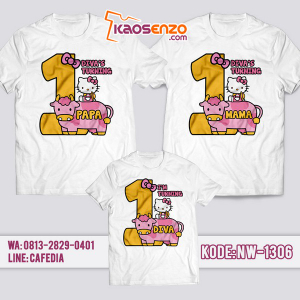 Baju Kaos Couple Keluarga Hello Kitty | Kaos Ulang Tahun Anak | Kaos Hello Kitty - NW 1306