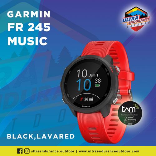 Jam Tangan Garmin Forerunner 245 Music Lava Red Multisport GPS Running Watch With Wrist Heart Rate Garansi Resmi TAM