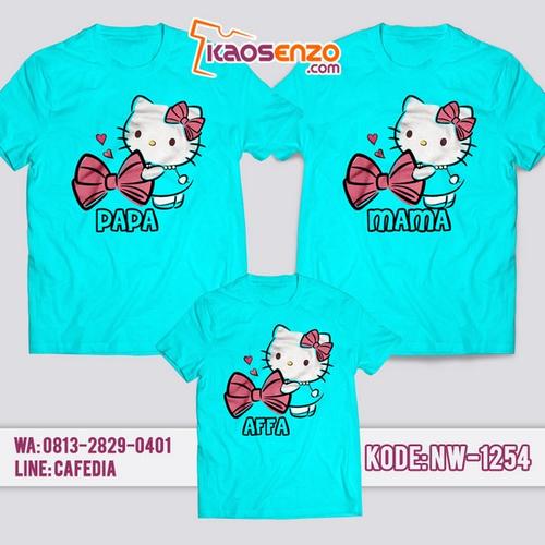 Baju Kaos Couple Keluarga Hello Kitty | Kaos Family Custom | Kaos Hello Kitty - NW 1254
