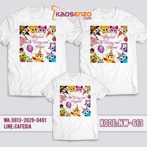 Kaos Couple Keluarga   Kaos Ulang Tahun Anak Owl - NW 613