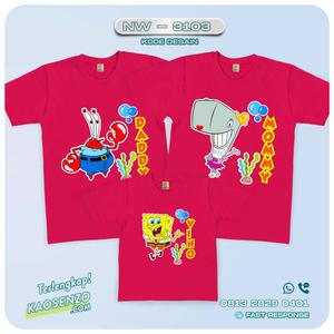 Baju Kaos Couple Keluarga Spongebob | Kaos Family Custom | Kaos Spongebob - NW 3103