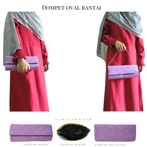 Dompet Songket Oval Rantai Purple A