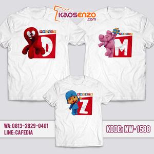 Baju Kaos Couple Keluarga Pocoyo | Kaos Family Custom | Kaos Pocoyo - NW 1588