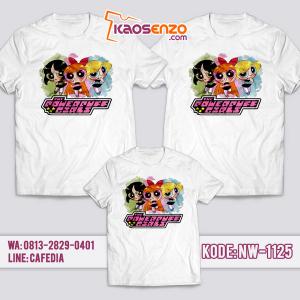Baju Kaos Couple Keluarga | Kaos Family Custom | Kaos Powerpuff Girl - NW 1125