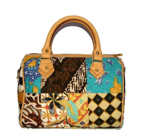 Tas Wanita Batik Kombinasi Kulit Asli Handbag + Tali Slempang