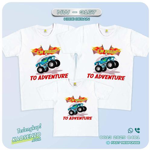 Baju Kaos Couple Keluarga | Kaos Ultah Anak | Kaos Monster Truck NW 3167