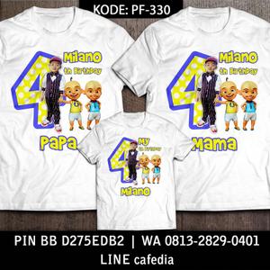 Kaos Couple Keluarga   Kaos Ulang Tahun Anak Upin Ipin - PF 330