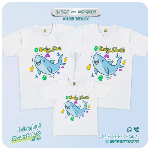 Baju Kaos Couple Keluarga Baby Shark | Kaos Family Custom | Kaos Baby Shark - NW 3236