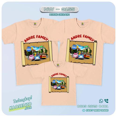 Kaos Couple Keluarga | Kaos Ulang Tahun Anak | Kaos Robocar Poli - NW 3155