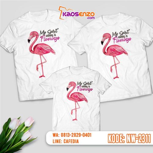 Baju Kaos Couple Keluarga Flamingo | Kaos Ultah Anak | Kaos Flamingo - NW 2311