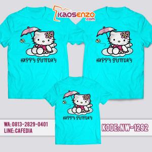 Baju Kaos Couple Keluarga Hello Kitty | Kaos Family Custom | Kaos Hello Kitty - NW 1292
