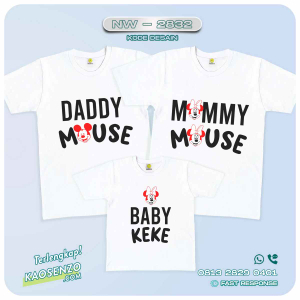 Baju Kaos Couple Keluarga Mickey Minnie Mouse | Kaos Ultah Anak | Kaos Mickey Minnie Mouse - NW 2832