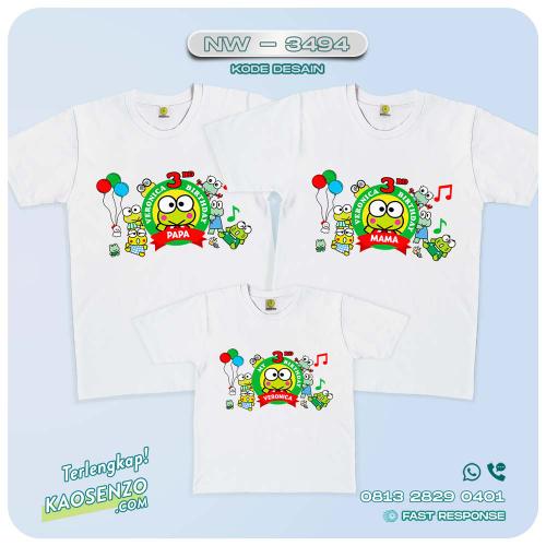 Baju Kaos Couple Keluarga Keroppi   Kaos Family Custom   Kaos Keroppi - NW 3494
