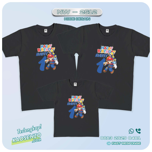 Baju Kaos Couple Keluarga | Kaos Family Custom Super Mario - NW 2512