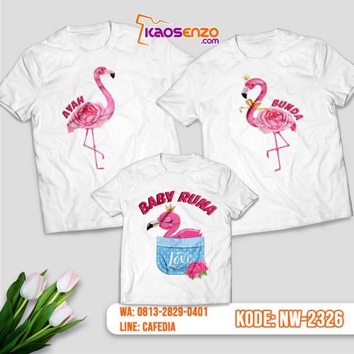 Baju Kaos Couple Keluarga Flamingo | Kaos Ultah Anak | Kaos Flamingo - NW 2326