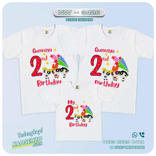 Baju Kaos Couple Keluarga | Kaos Ultah Anak | Kaos Powerpuff Girl - NW 3426