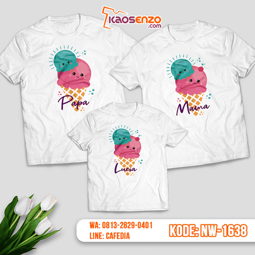 Baju Kaos Couple Keluarga Ice Cream | Kaos Family Custom | Kaos Ice Cream - NW 1638