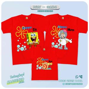Baju Kaos Couple Keluarga Spongebob | Kaos Family Custom | Kaos Spongebob - NW 3104