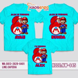 Kaos Couple Keluarga | Kaos Ulang Tahun Anak Super Mario - NW 845