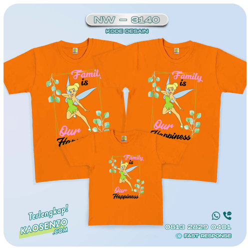 Baju Kaos Couple Keluarga Tinker Bell | Kaos Ultah Anak | Kaos Tinker Bell - NW 3140
