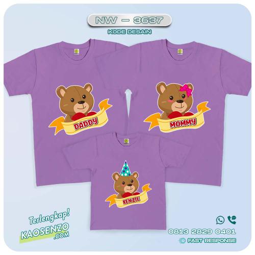 Baju Kaos Couple Keluarga Beruang | Kaos Family Custom | Kaos Beruang - NW 3637