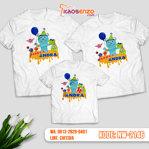 Baju Kaos Couple Keluarga Monster Inc | Kaos Ultah Anak | Kaos Monster Inc - NW 2146