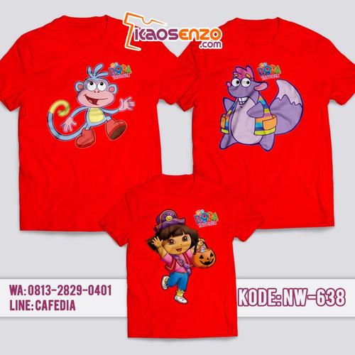 Baju Kaos Couple Keluarga | Kaos Family Custom Dora The Explorer - NW 638