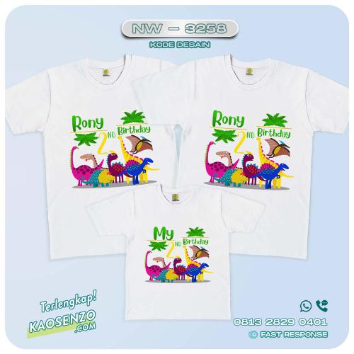Baju Kaos Couple Keluarga Dinosaurus   Kaos Ultah Anak   Kaos Dinosaurus - NW 3258