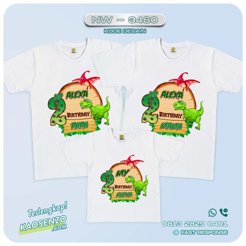 Baju Kaos Couple Keluarga Dinosaurus   Kaos Ultah Anak   Kaos Dinosaurus - NW 3480
