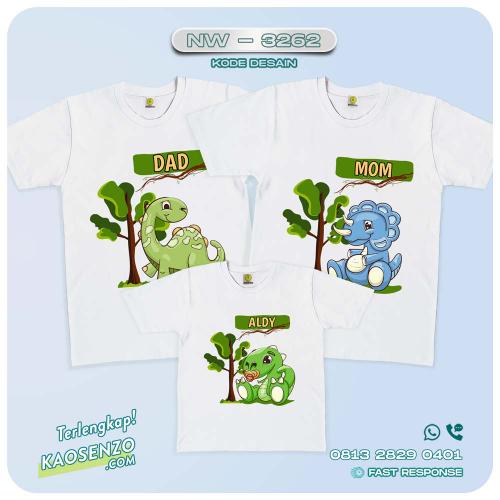 Baju Kaos Couple Keluarga Dinosaurus | Kaos Ultah Anak | Kaos Dinosaurus - NW 3262