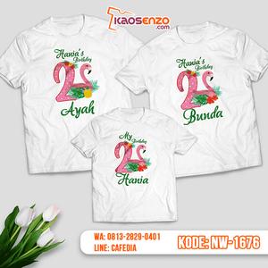 Baju Kaos Couple Keluarga Flamingo | Kaos Ultah Anak | Kaos Flamingo - NW 1676