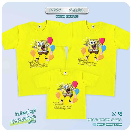 Baju Kaos Couple Keluarga Spongebob | Kaos Family Custom | Kaos Spongebob - NW 2461