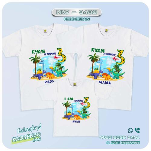 Baju Kaos Couple Keluarga Dinosaurus   Kaos Ultah Anak   Kaos Dinosaurus - NW 3482