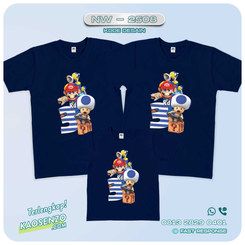 Baju Kaos Couple Keluarga | Kaos Family Custom Super Mario - NW 2508