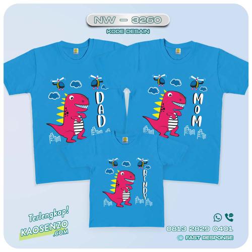 Baju Kaos Couple Keluarga Dinosaurus | Kaos Ultah Anak | Kaos Dinosaurus - NW 3260