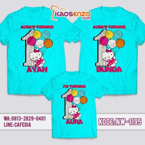 Baju Kaos Couple Keluarga Hello Kitty | Kaos Ultah Anak | Kaos Hello Kitty - NW 1195
