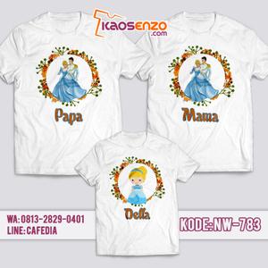Baju Kaos Couple Keluarga | Kaos Family Custom Princess Cinderella - NW 783