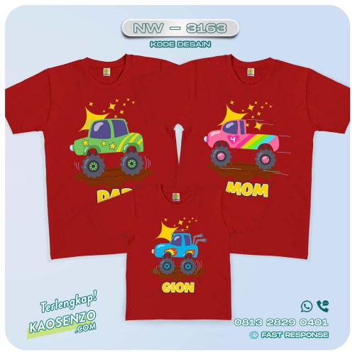 Kaos Couple Keluarga | Kaos Ulang Tahun Anak | Kaos Monster Truck - NW 3163